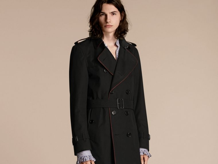 Black Trench Coat with Regimental Piping Black - cell image 4