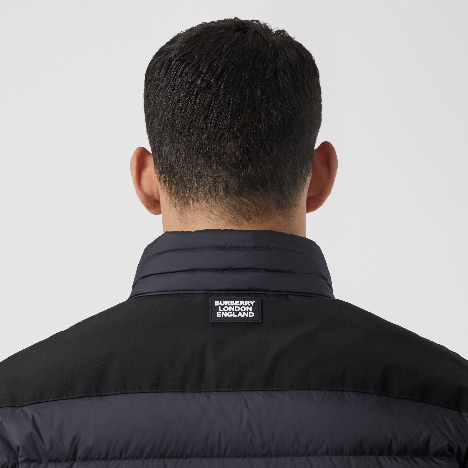 Logo Graphic Lightweight Puffer Jacket in Navy - Men | Burberry - gallery image 5