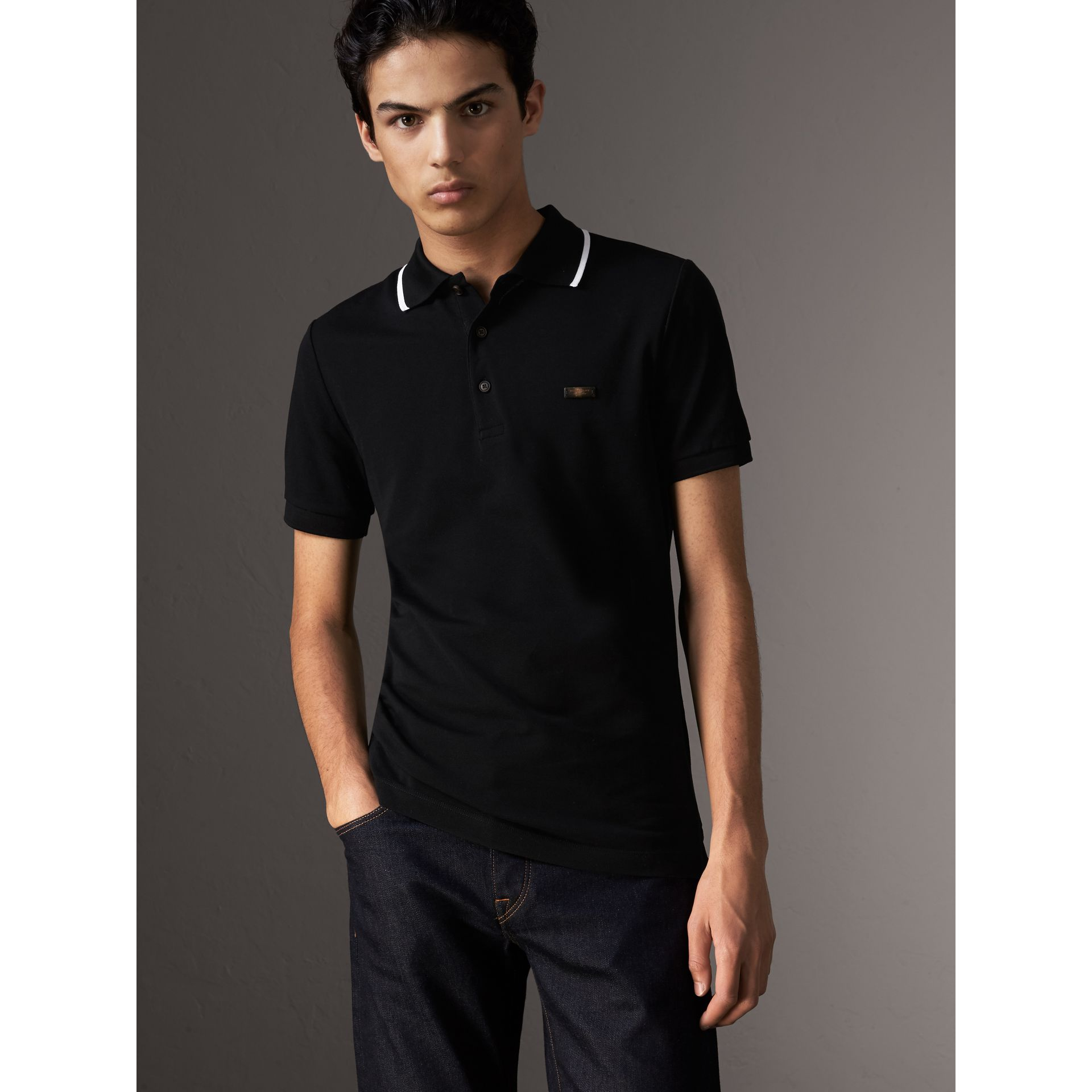 Tipped Collar Cotton Piqué Polo Shirt in Black - Men | Burberry - gallery image 1