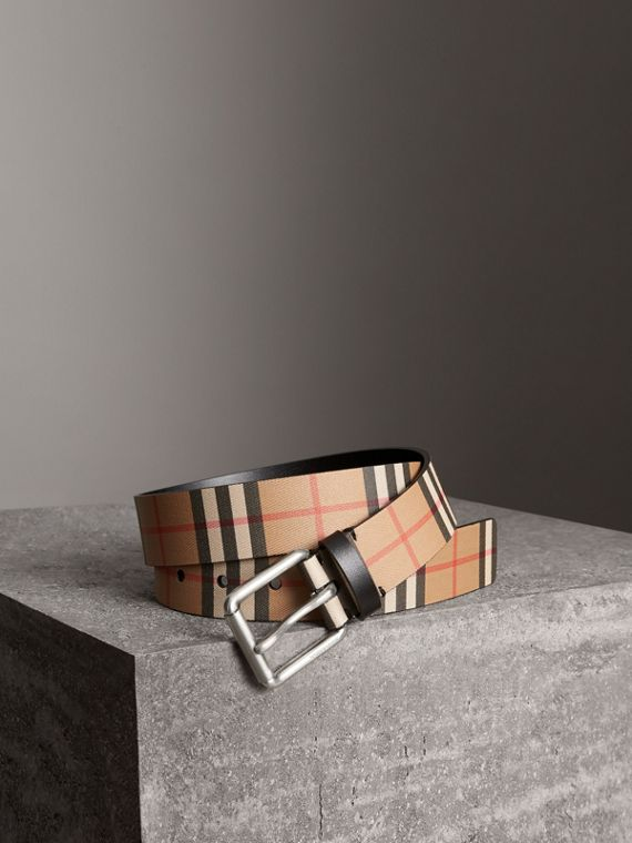 Vintage Check Leather Belt in Black