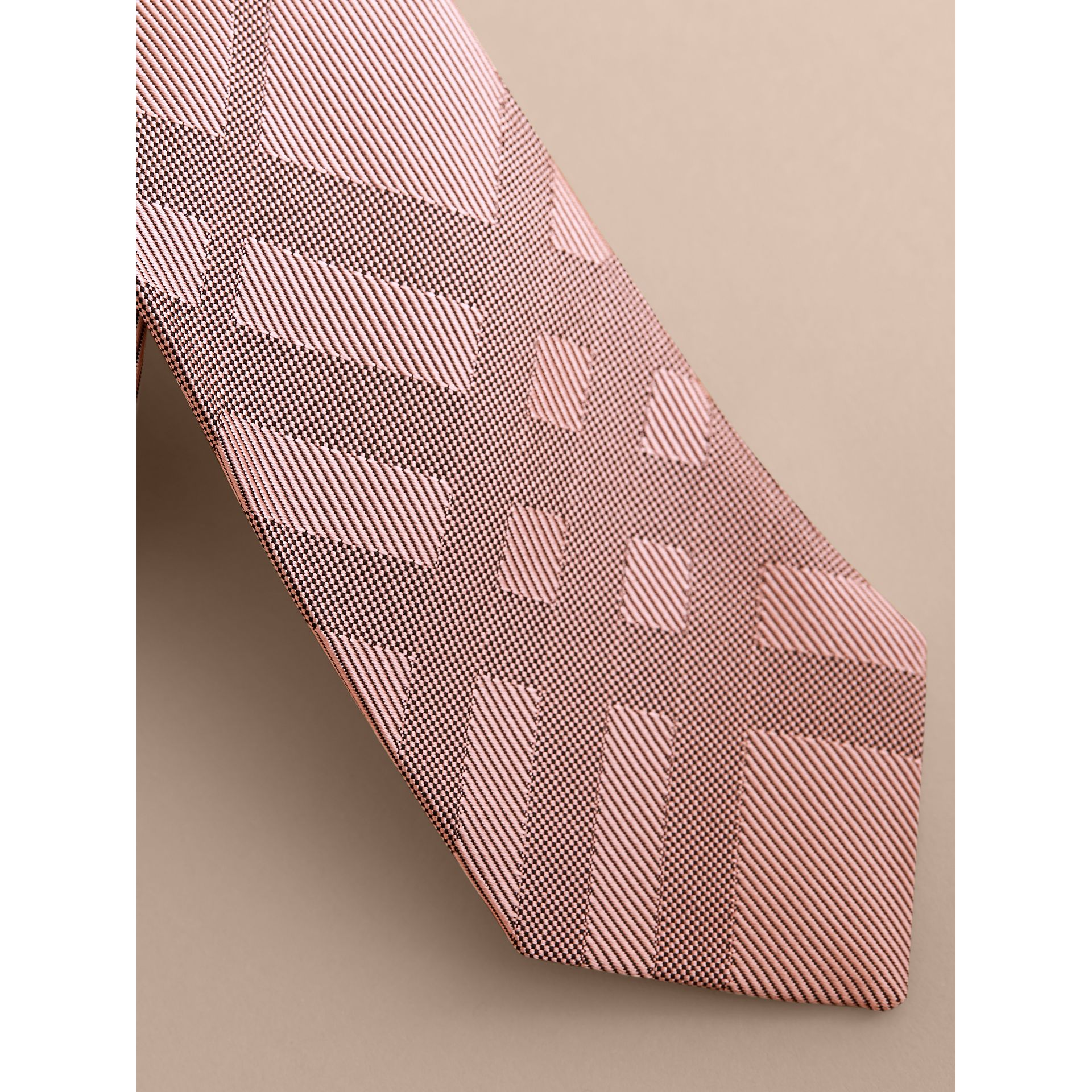 Slim Cut Check Silk Tie in Rose Pink - Men | Burberry - gallery image 2