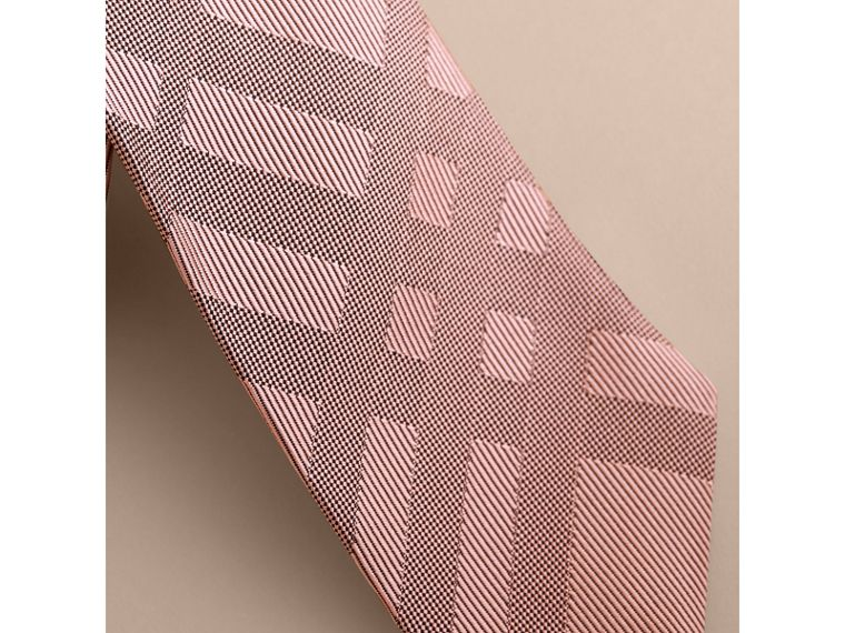 Slim Cut Check Silk Tie in Rose Pink - Men | Burberry - cell image 1