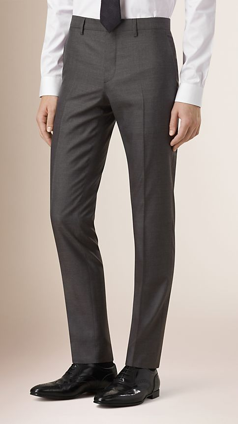 Dark grey melange Slim Fit Wool Silk Half-canvas Suit - Image 5