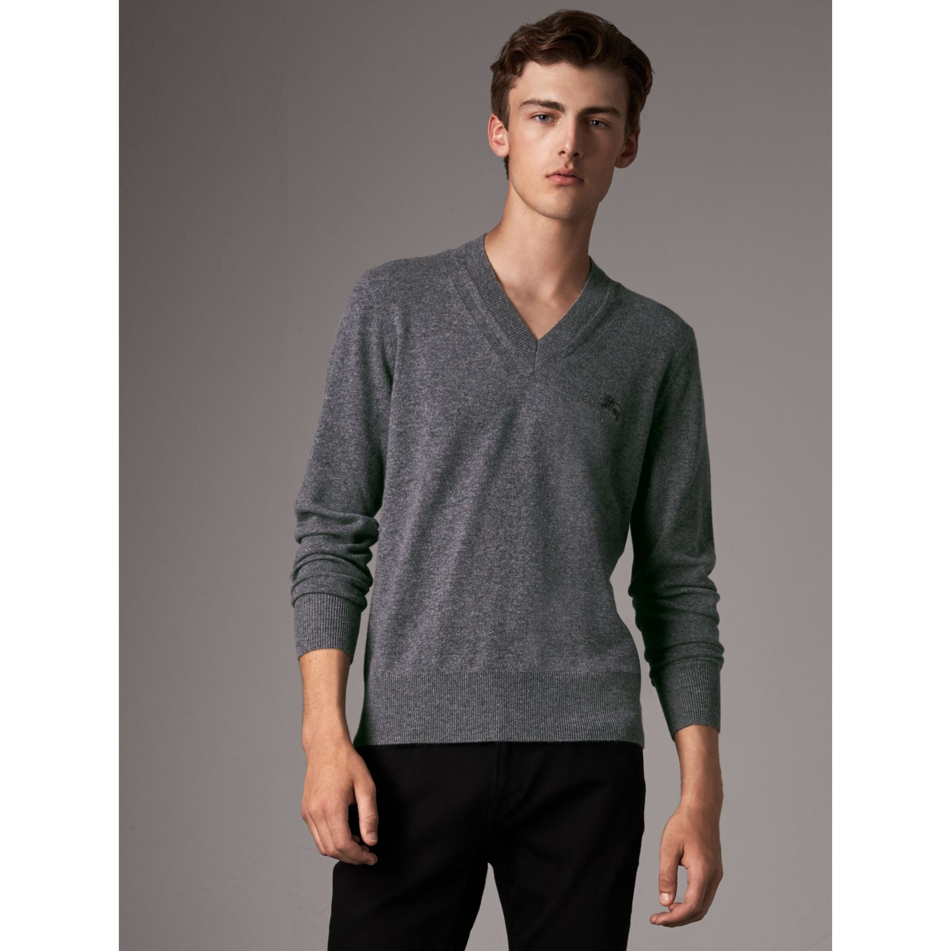 Cashmere V-neck Sweater in Mid Grey Melange - Men | Burberry Canada - gallery image 1
