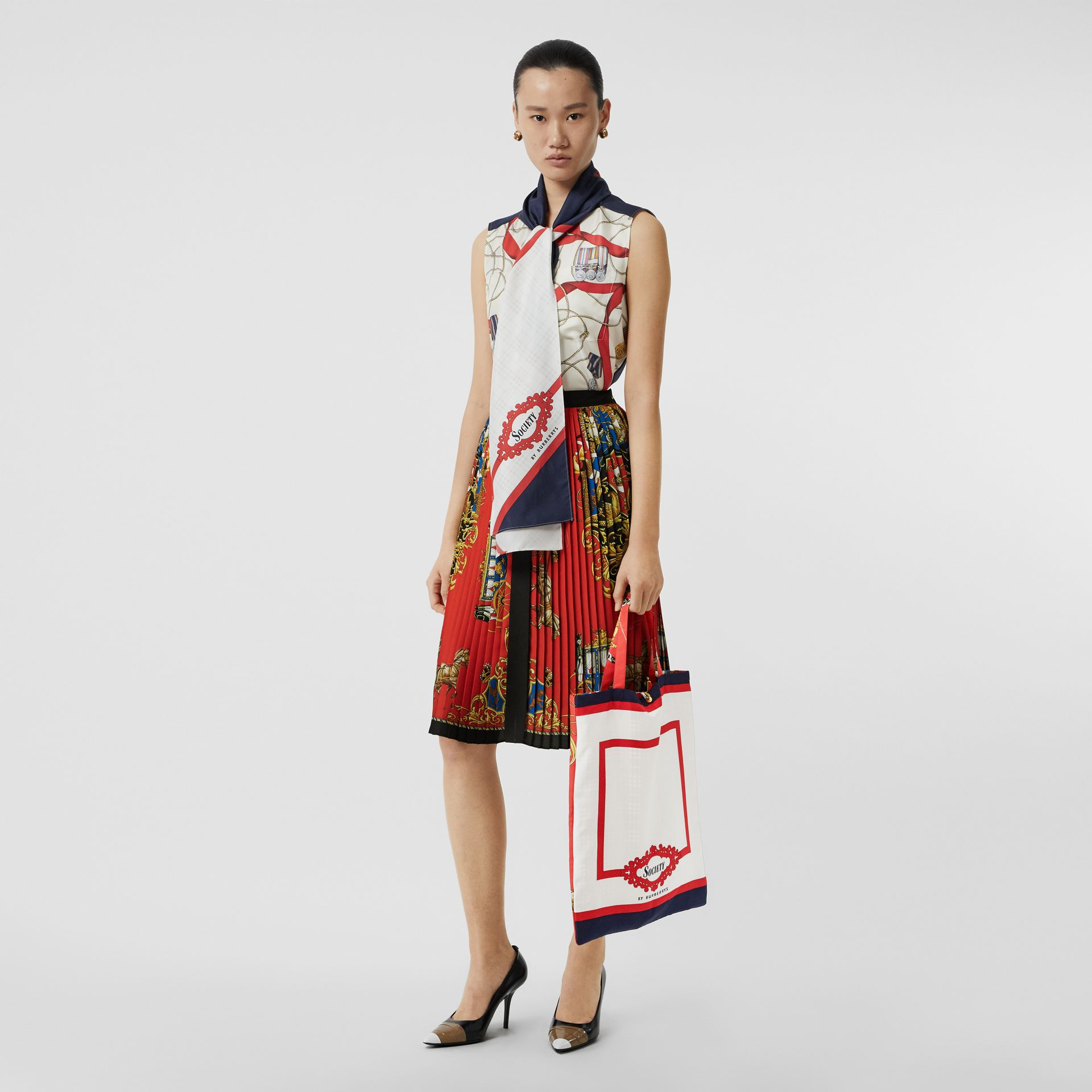 Archive Scarf Print Silk Tote in Bright Red/navy - Women | Burberry United Kingdom - gallery image 2