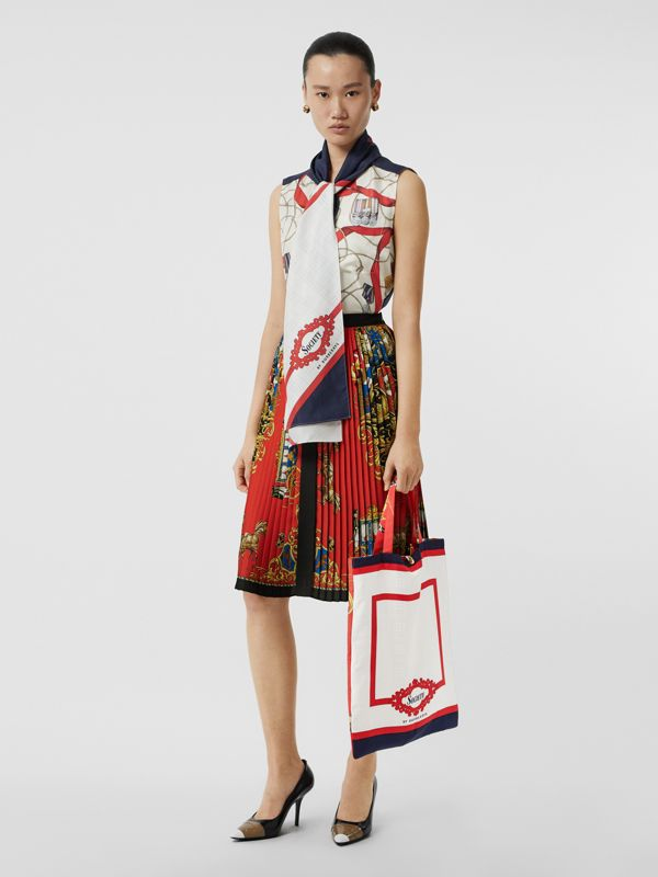 Archive Scarf Print Silk Tote in Bright Red/navy - Women | Burberry Australia - cell image 2