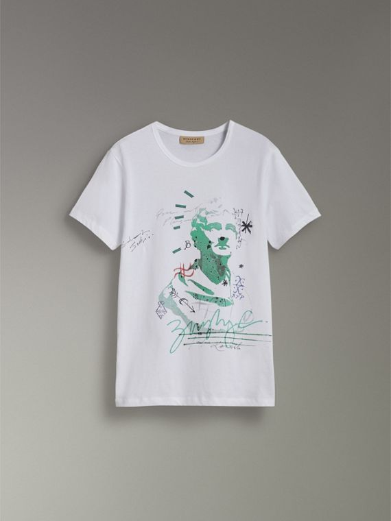 Bust Print Mélange Cotton T-shirt in White - Men | Burberry United Kingdom - cell image 3