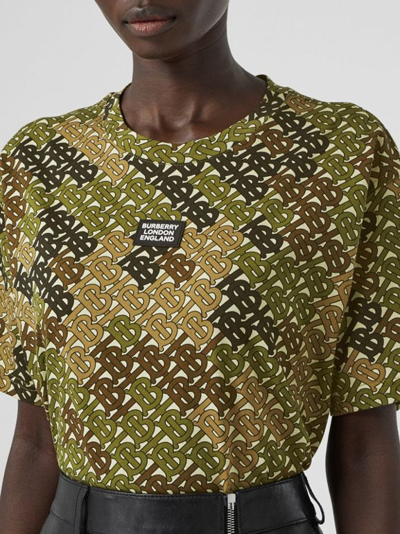 Logo Detail Monogram Print Cotton Oversized T-shirt in Khaki Green - Women | Burberry - cell image 1