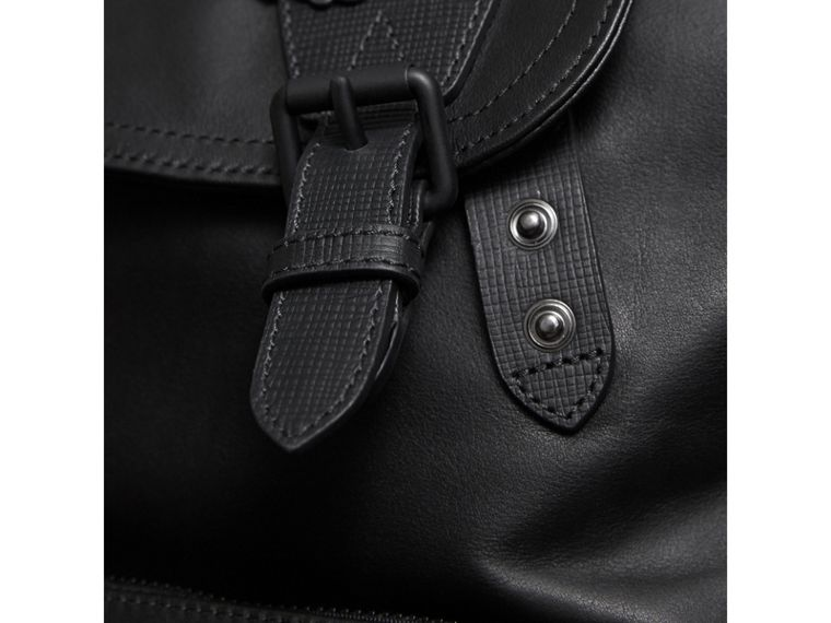 The Large Rucksack in Leather with Beasts Motif in Black - Men | Burberry - cell image 1