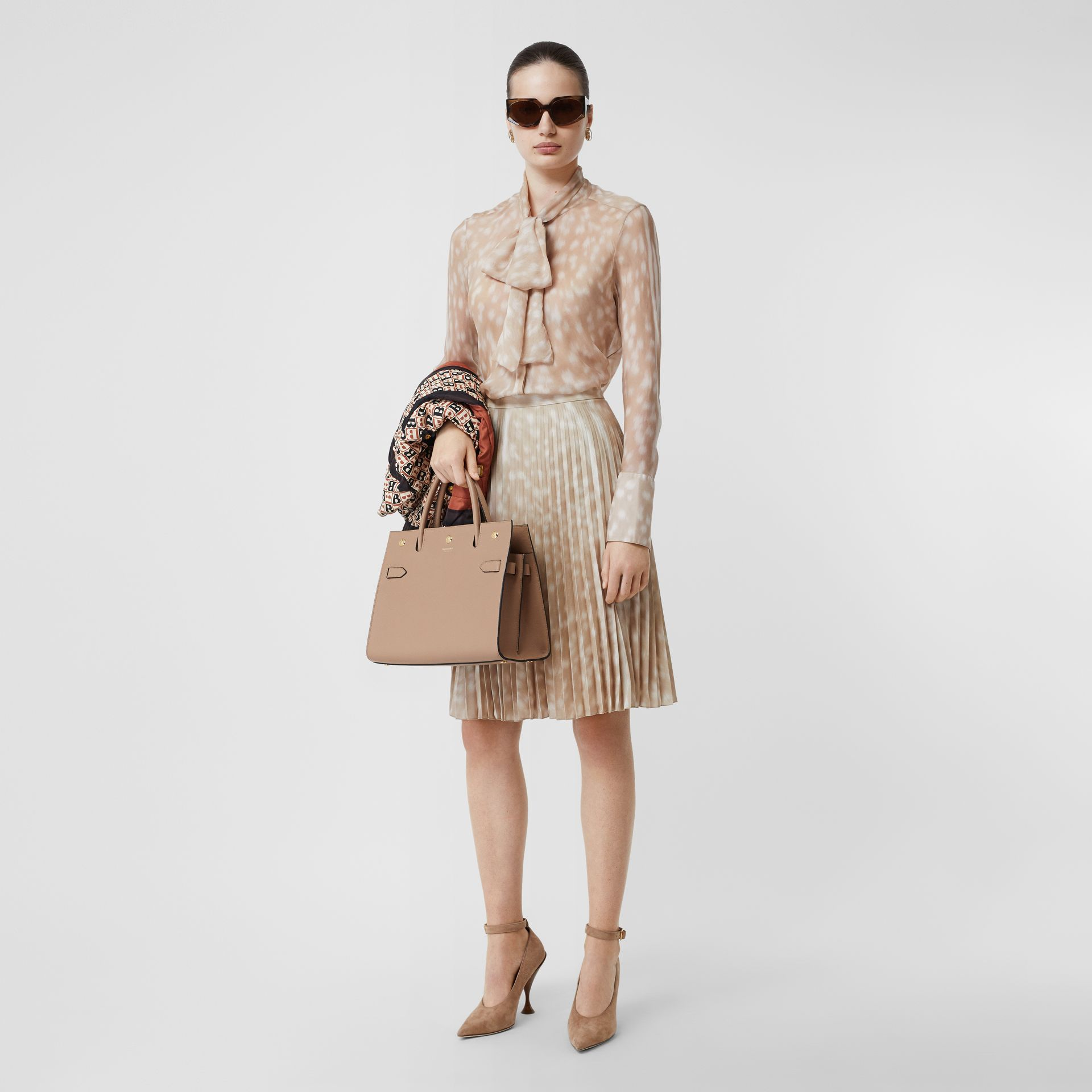 Deer Print Pleated Skirt in Soft Fawn - Women | Burberry - gallery image 0