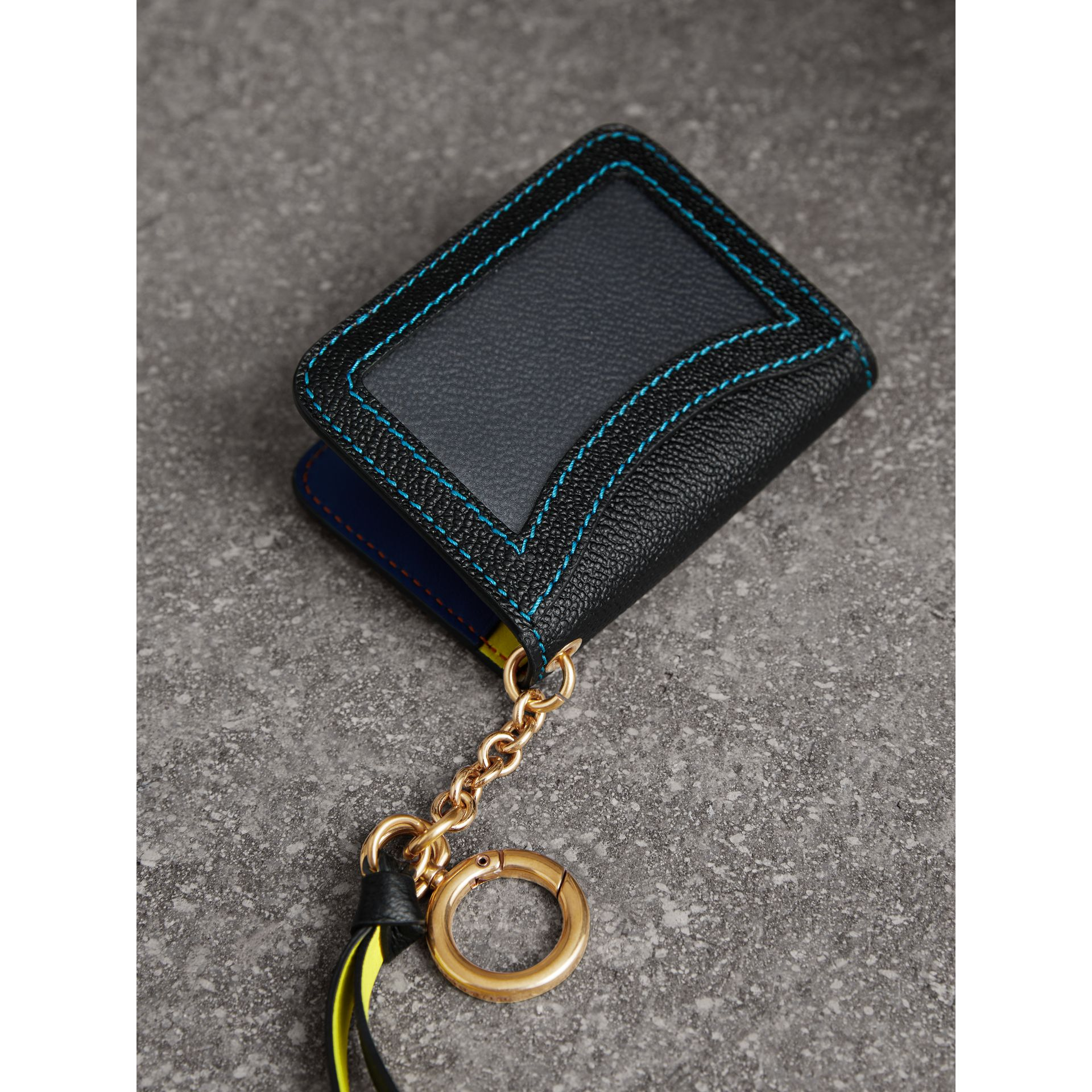 Leather and Haymarket Check ID Card Case Charm in Black/multicolour - Women | Burberry Canada - gallery image 2