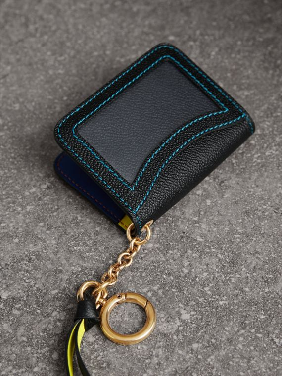 Leather and Haymarket Check ID Card Case Charm in Black/multicolour - Women | Burberry - cell image 2