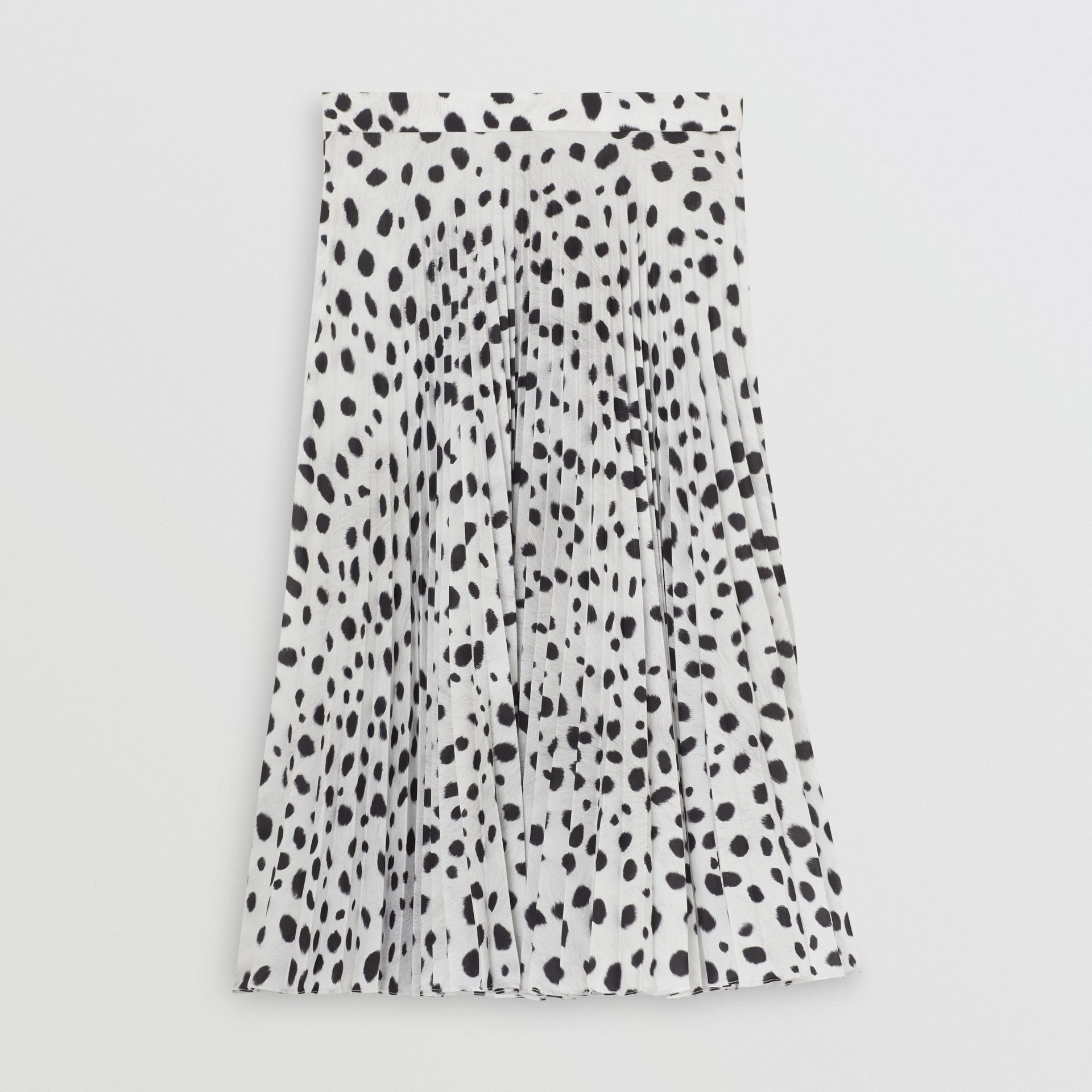 Dalmatian Print Crepe Pleated Skirt in Black/white - Women | Burberry Australia - gallery image 3