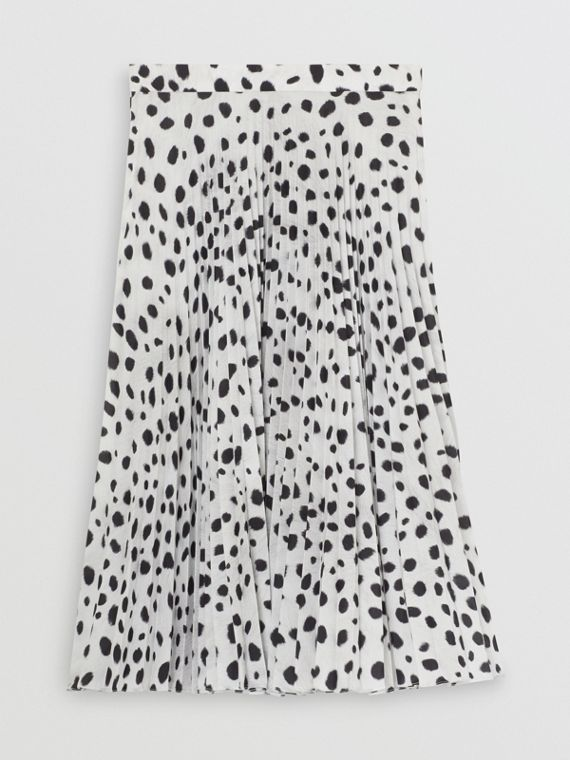 Dalmatian Print Crepe Pleated Skirt in Black/white