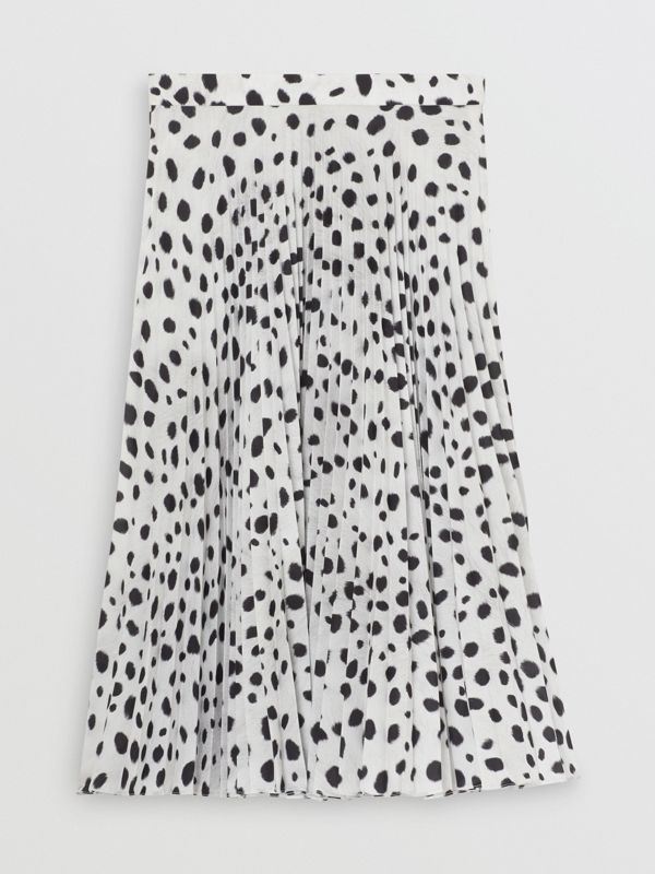 Dalmatian Print Crepe Pleated Skirt in Black/white - Women | Burberry - cell image 3