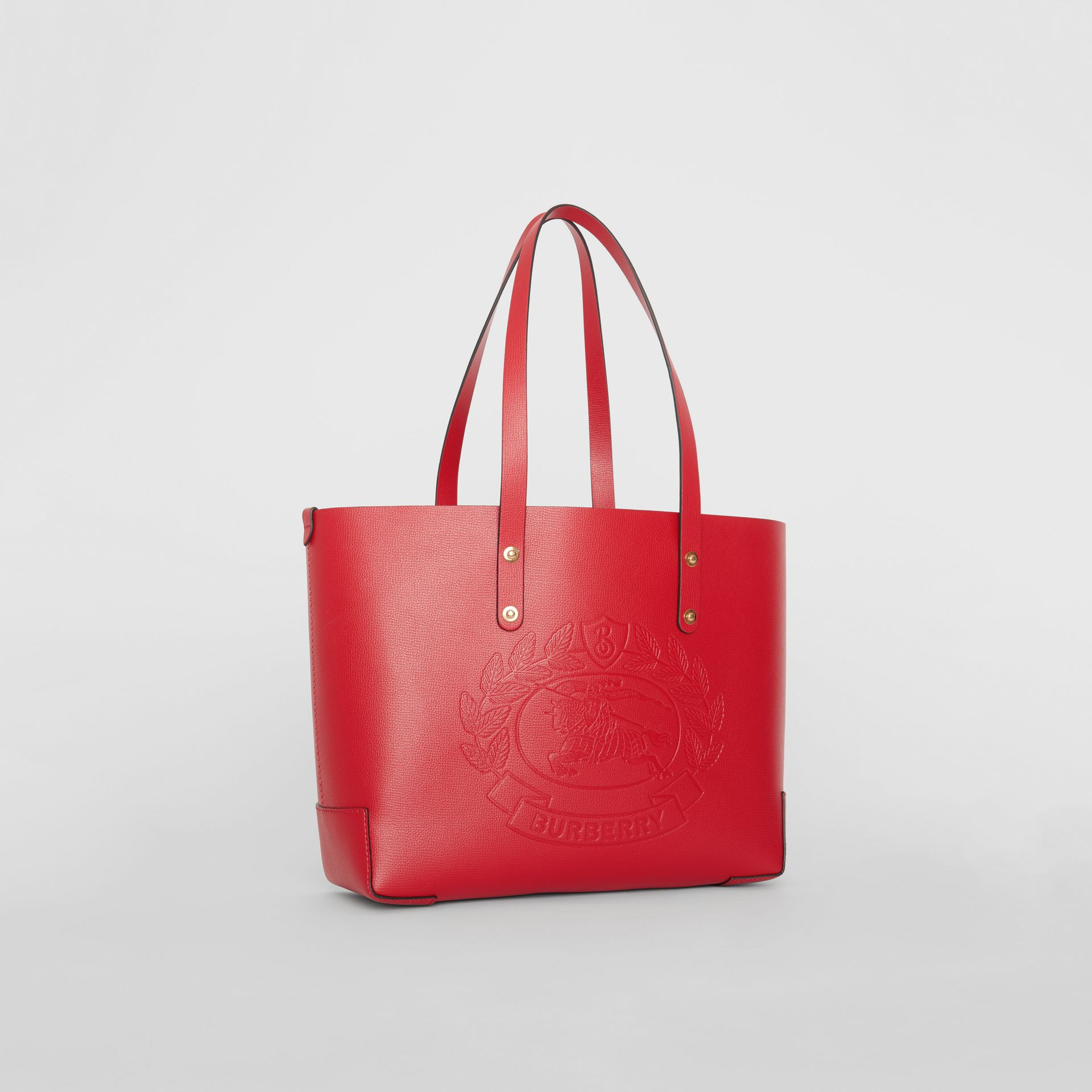 Small Embossed Crest Leather Tote in Rust Red - Women | Burberry - gallery image 6