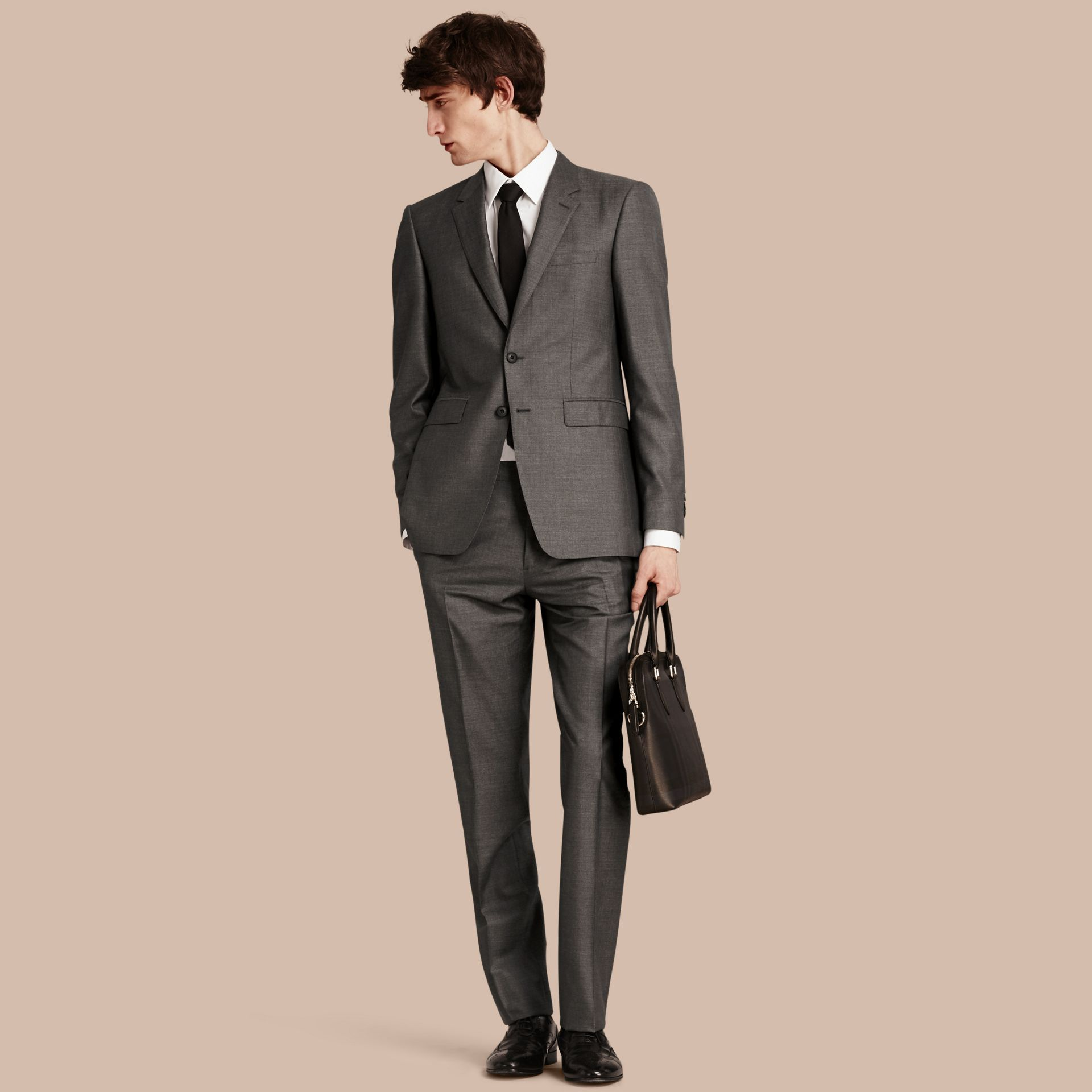 Dark grey melange Modern Fit Wool Silk Half-canvas Suit - gallery image 1