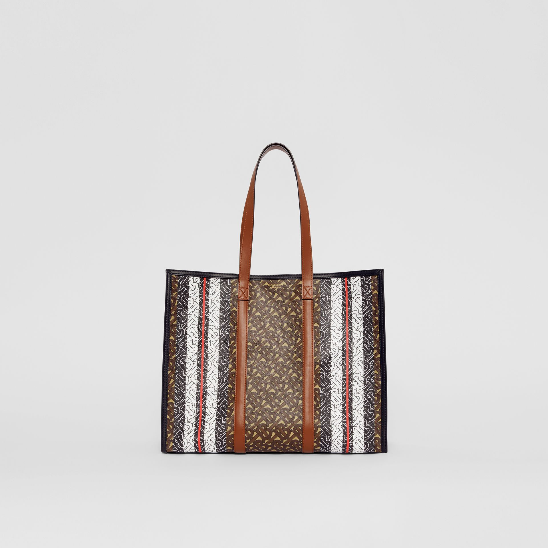Small Monogram Stripe E-canvas Tote Bag in Bridle Brown - Women | Burberry - gallery image 0