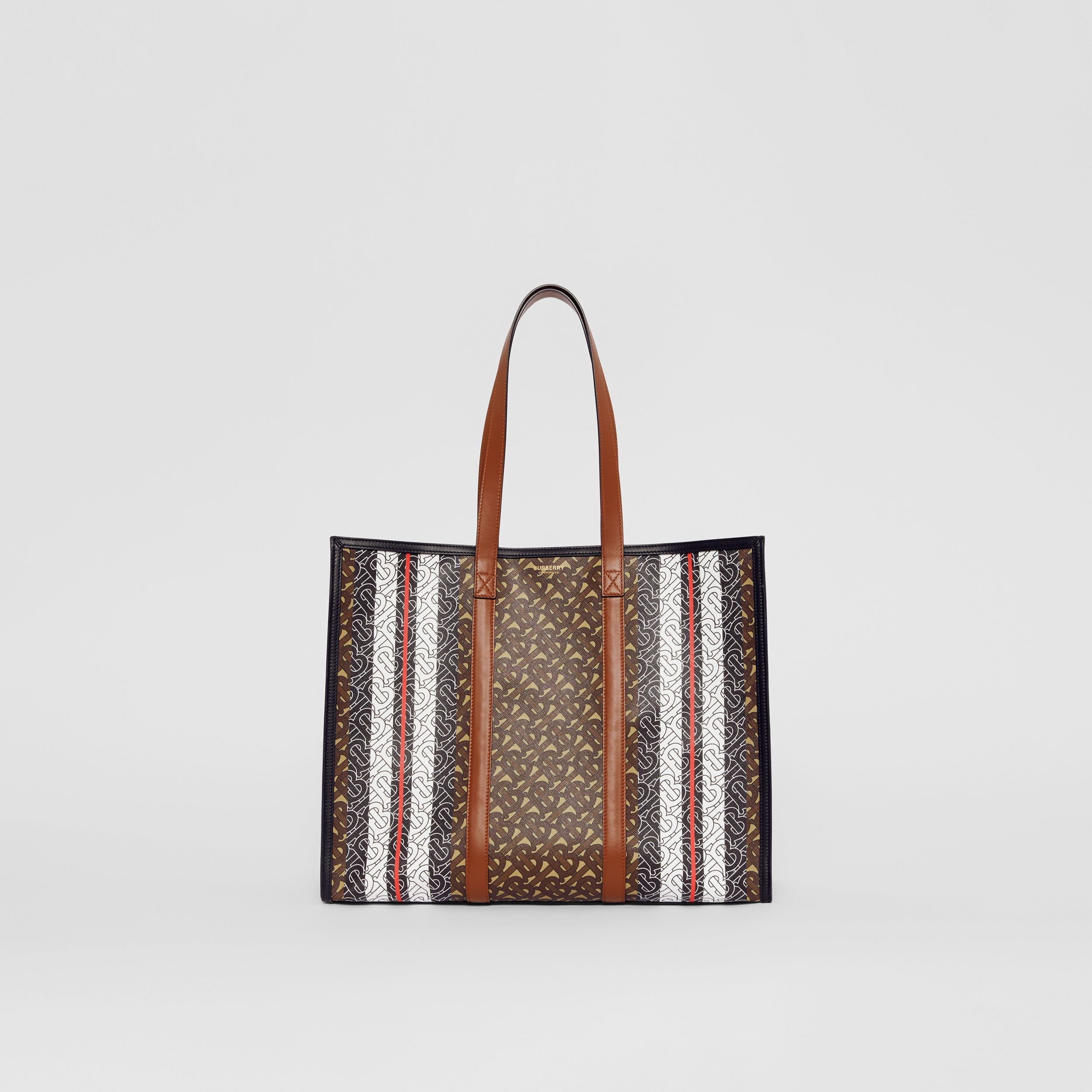 Small Monogram Stripe E-canvas Tote Bag in Bridle Brown - Women | Burberry Canada - 1