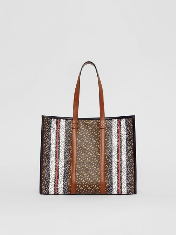 Small Monogram Stripe E-canvas Tote Bag in Bridle Brown