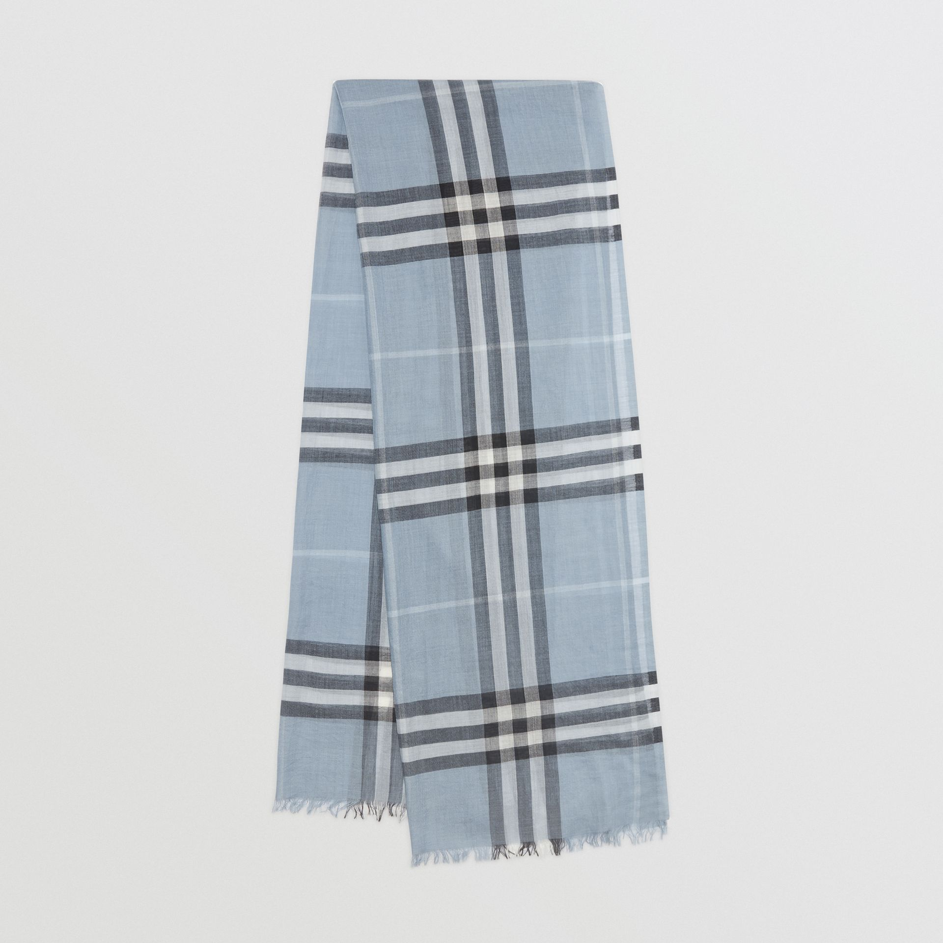 Lightweight Check Wool and Silk Scarf in Dusty Blue | Burberry Singapore - gallery image 0