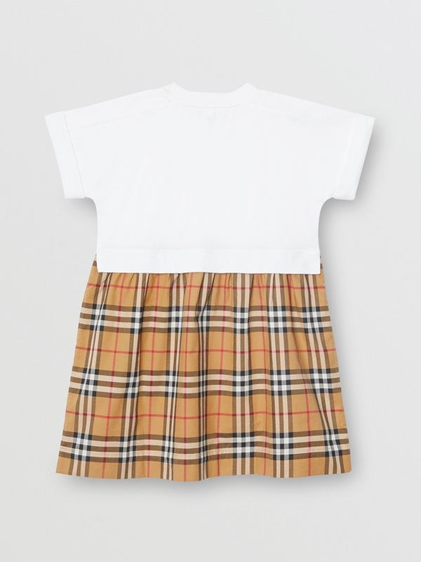 Vintage Check Cotton Dress in White | Burberry United Kingdom - cell image 3