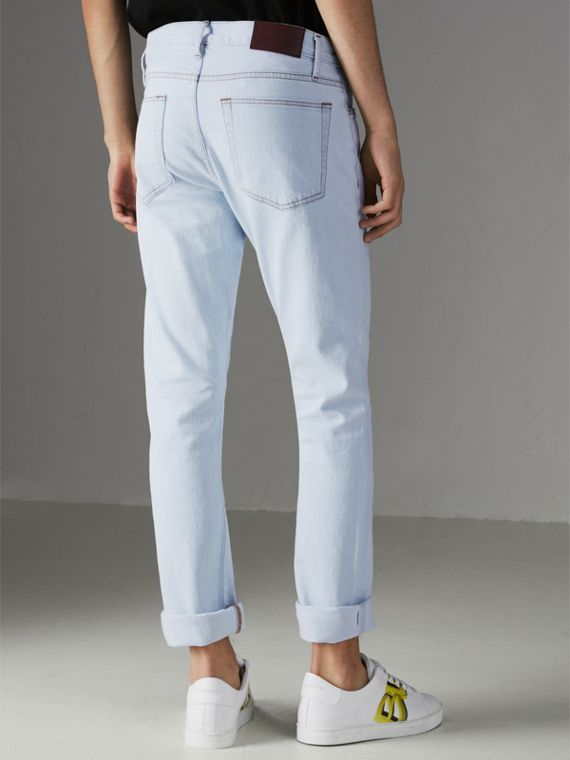 Straight Fit Bleached Japanese Denim Jeans in Ice Blue - Men | Burberry Hong Kong - cell image 2