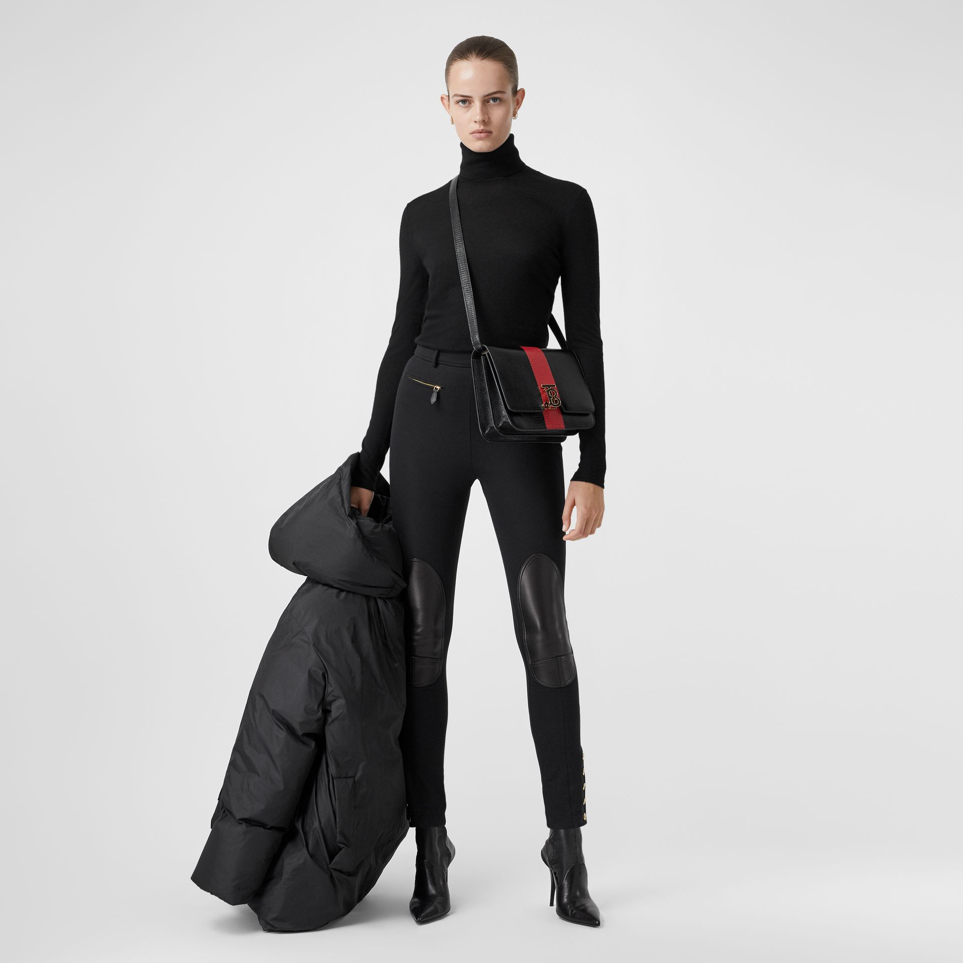 Lambskin Trim Stretch Cotton Blend Trousers in Black - Women | Burberry - gallery image 0