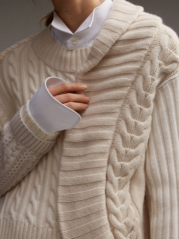 Panelled Cashmere, Cotton and Wool Sweater - Women | Burberry