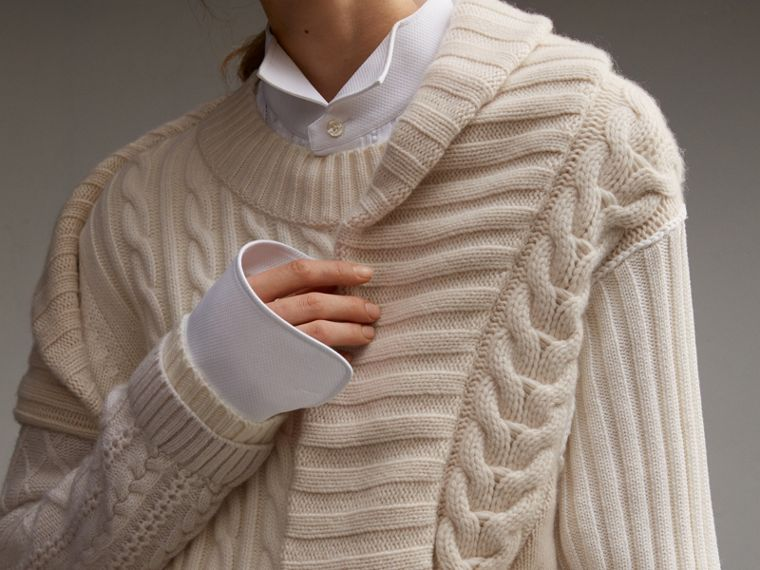 Panelled Cashmere, Cotton and Wool Sweater - Women | Burberry - cell image 4