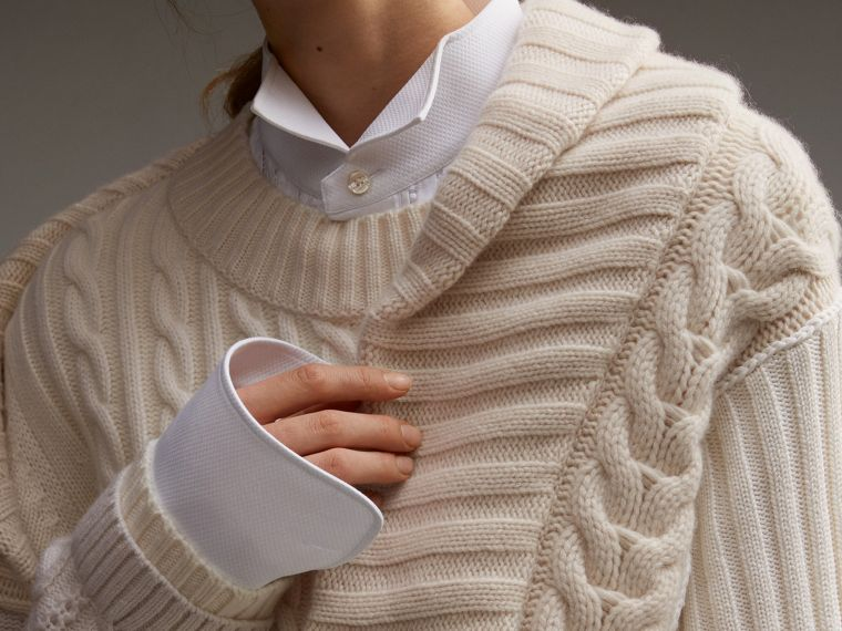 Panelled Cashmere, Cotton and Wool Sweater