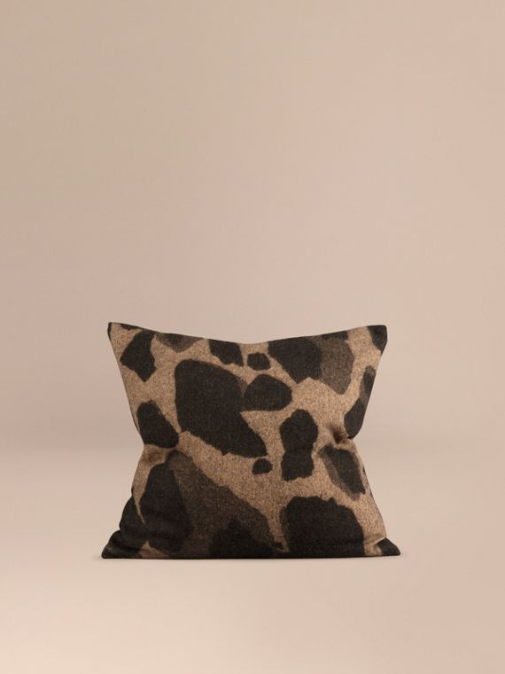 Animal Jacquard Cashmere Cushion Cover Camel