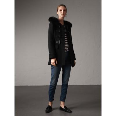 Burberry - Duffle-coat en laine avec bordure en fourrure amovible - 6