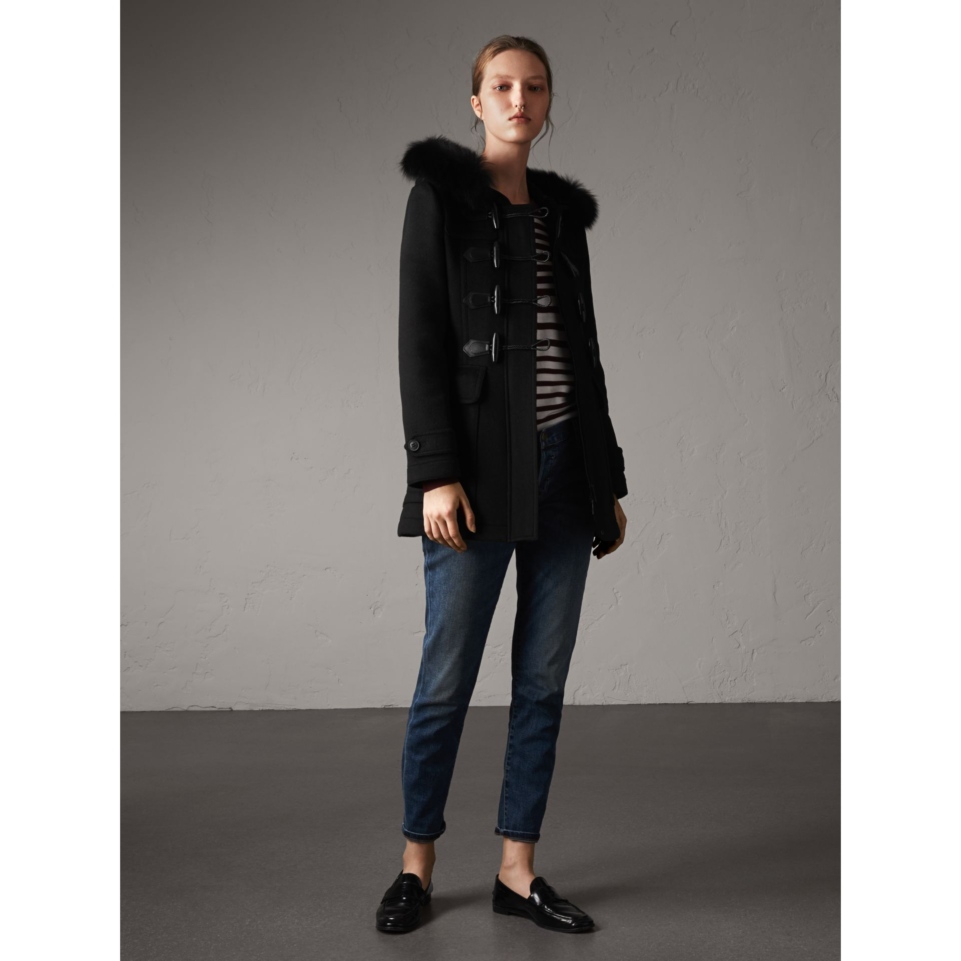 Detachable Fur Trim Wool Duffle Coat in Black - gallery image 6