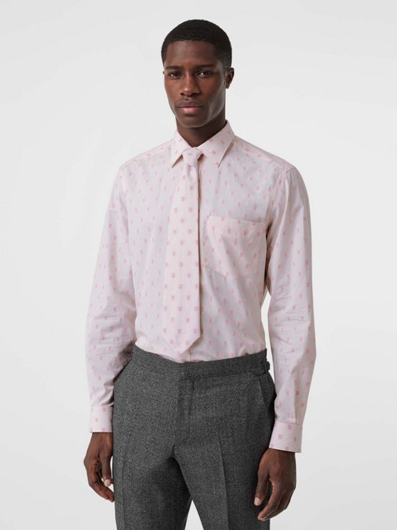Fil Coupé Monogram Cotton Shirt and Tie Twinset in Alabaster Pink