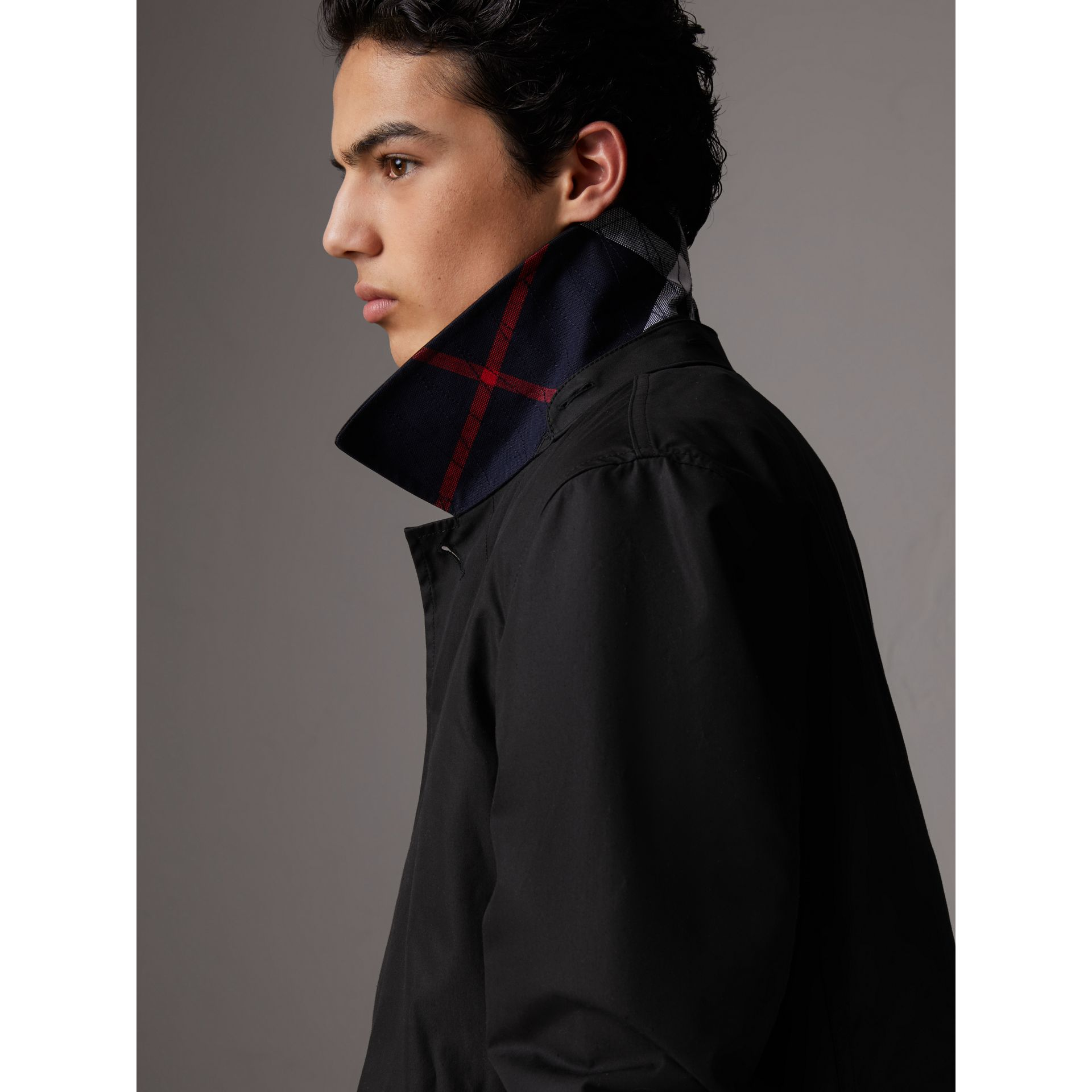 Detachable Hood Cotton Blend Car Coat with Warmer in Black - Men | Burberry - gallery image 1