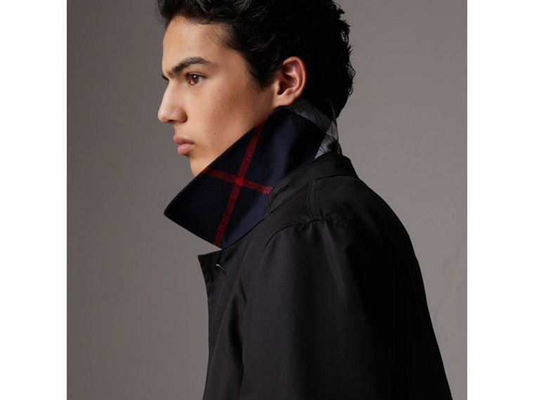 Detachable Hood Cotton Blend Car Coat with Warmer in Black - Men | Burberry United Kingdom - cell image 1