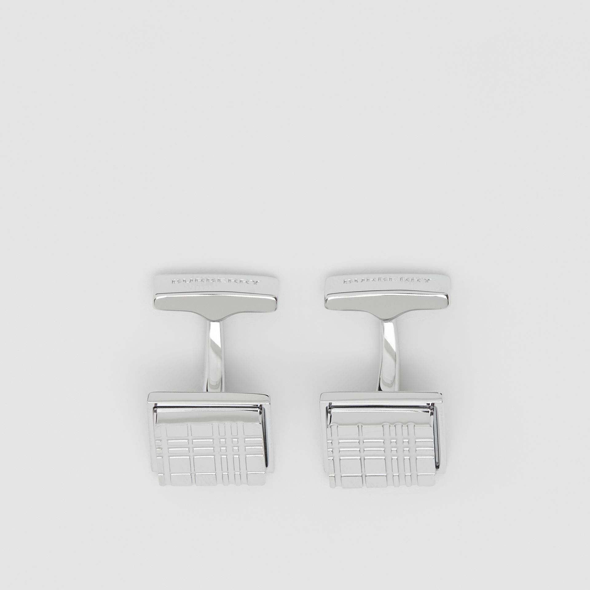 Palladium-plated Check-engraved Square Cufflinks in Silver - Men | Burberry - gallery image 2