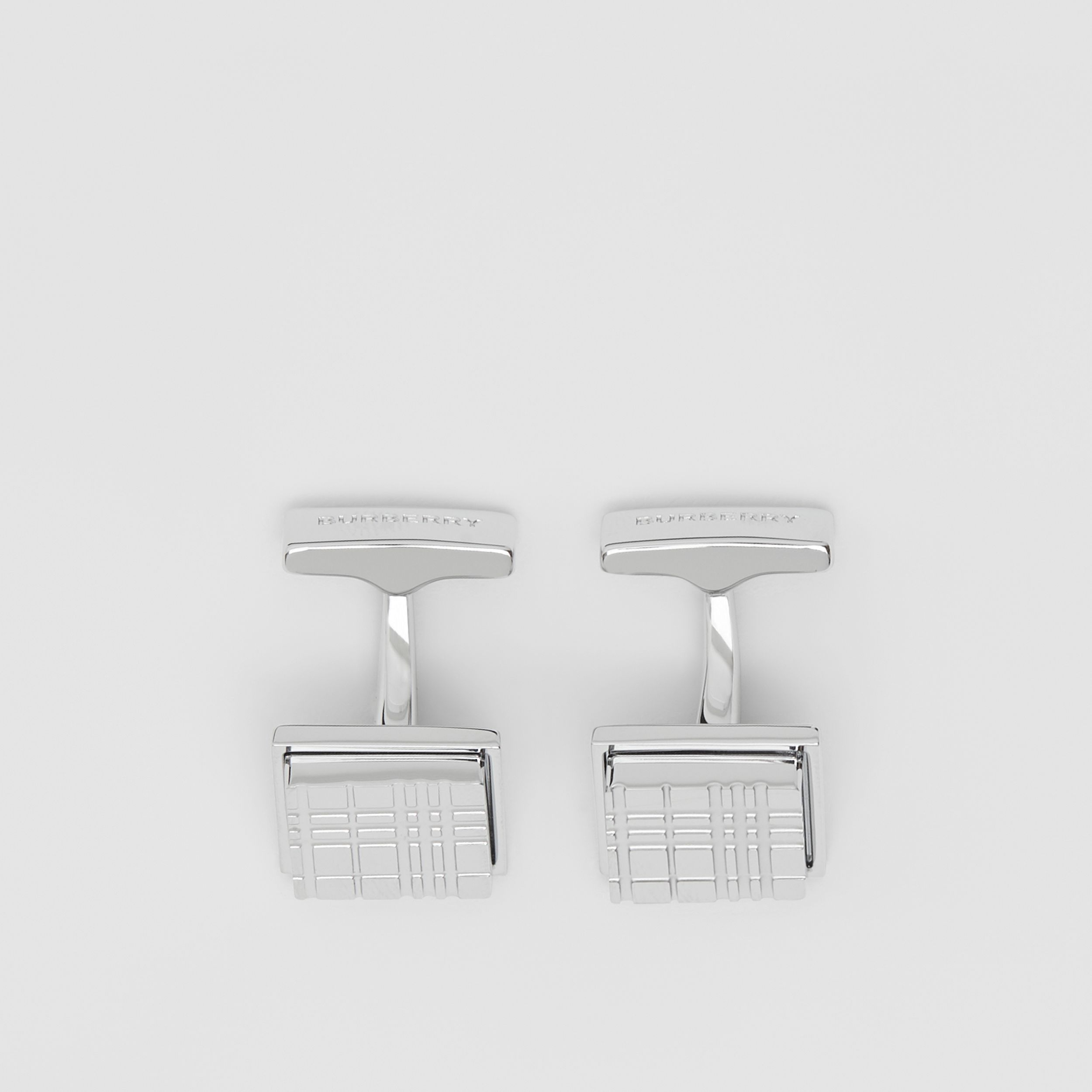 Palladium-plated Check-engraved Square Cufflinks in Silver - Men | Burberry - 3