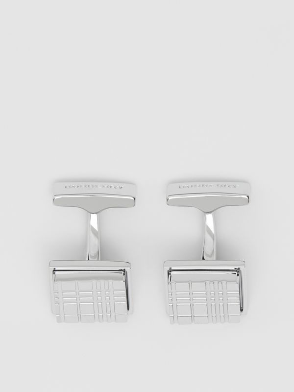 Palladium-plated Check-engraved Square Cufflinks in Silver - Men | Burberry Singapore - cell image 2