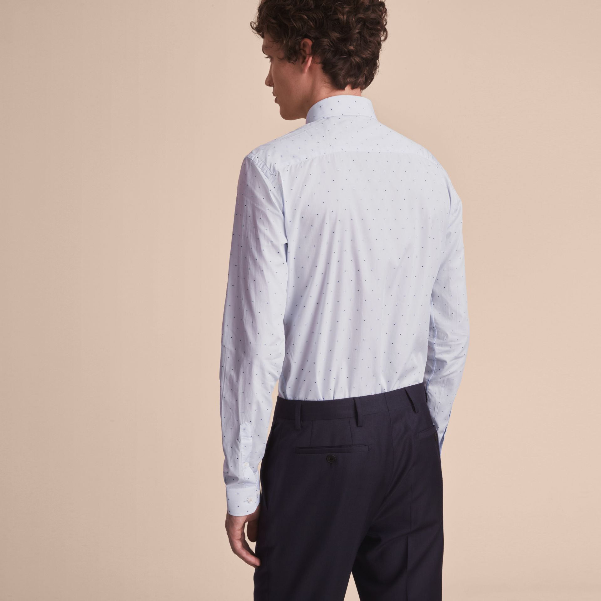 Slim Fit Dot Fil Coupé Cotton Poplin Shirt in Light Blue - Men | Burberry - gallery image 3