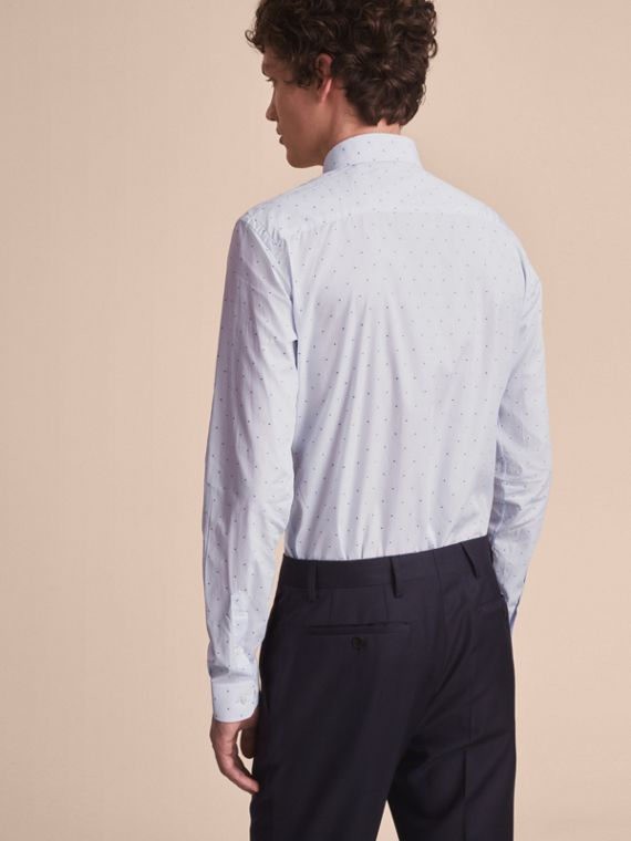 Slim Fit Dot Fil Coupé Cotton Poplin Shirt in Light Blue - Men | Burberry - cell image 2