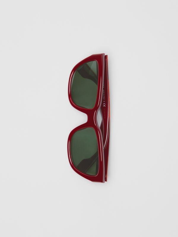 Square Frame Sunglasses in Burgundy - Women | Burberry Hong Kong - cell image 3