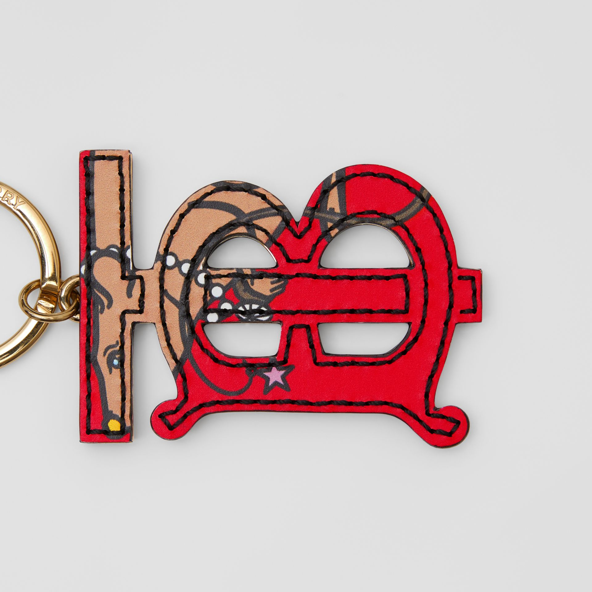 Monogram Motif Leather Key Charm in Red | Burberry - gallery image 1