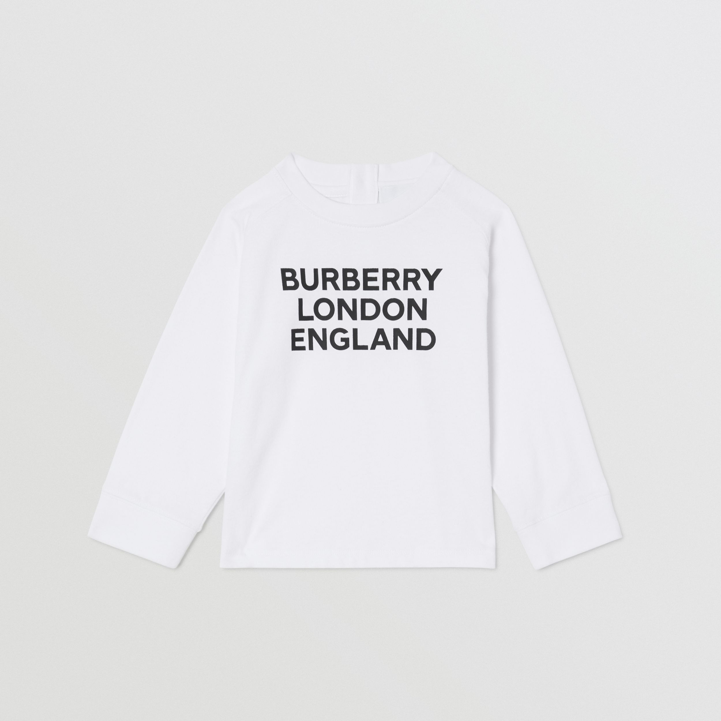 Long-sleeve Logo Print Cotton Top in White - Children | Burberry - 1