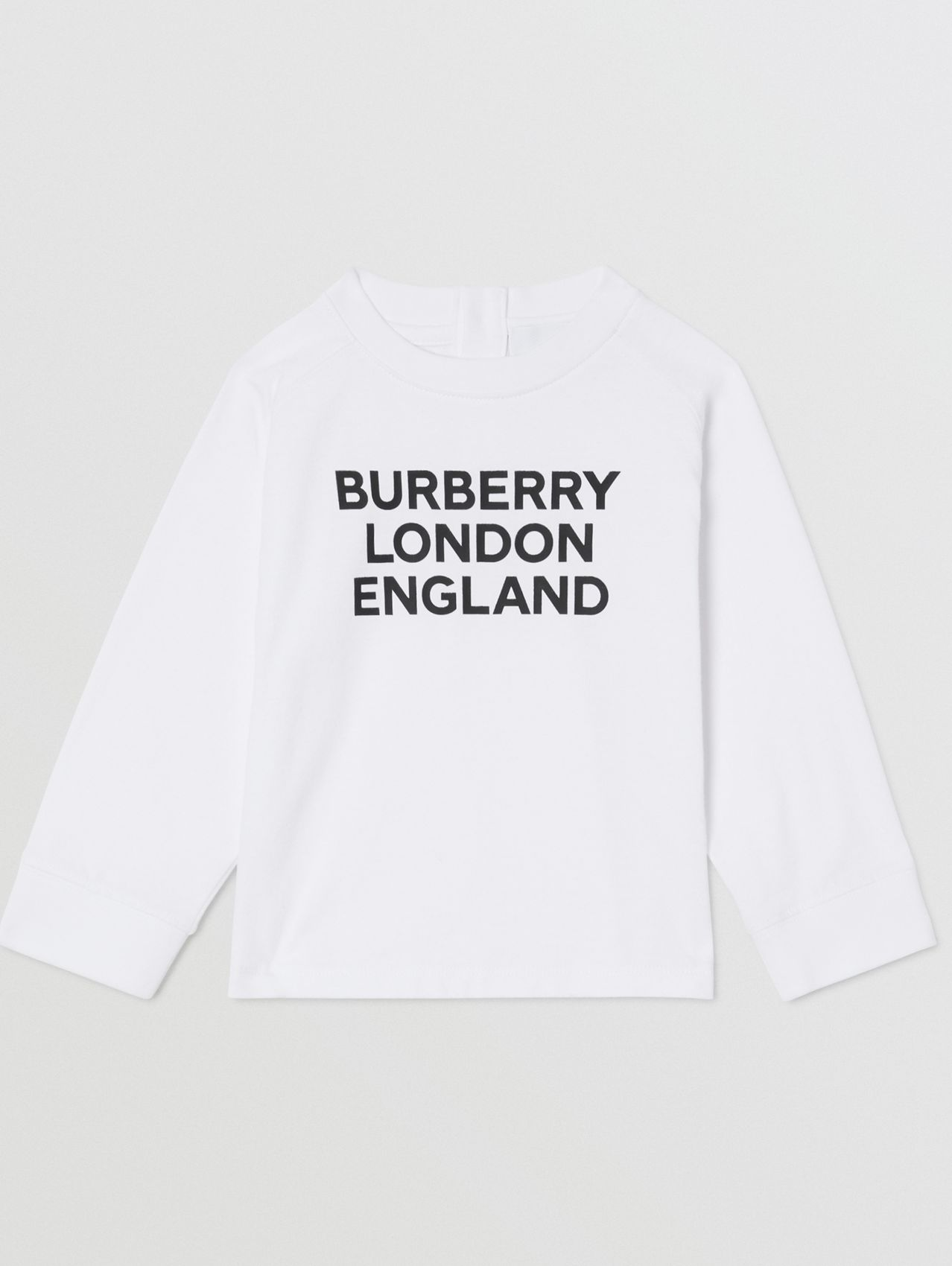 Long-sleeve Logo Print Cotton Top in White