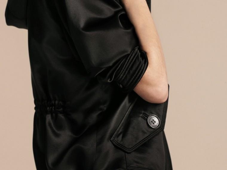 Nero Giacca con cappuccio in raso di seta - cell image 4