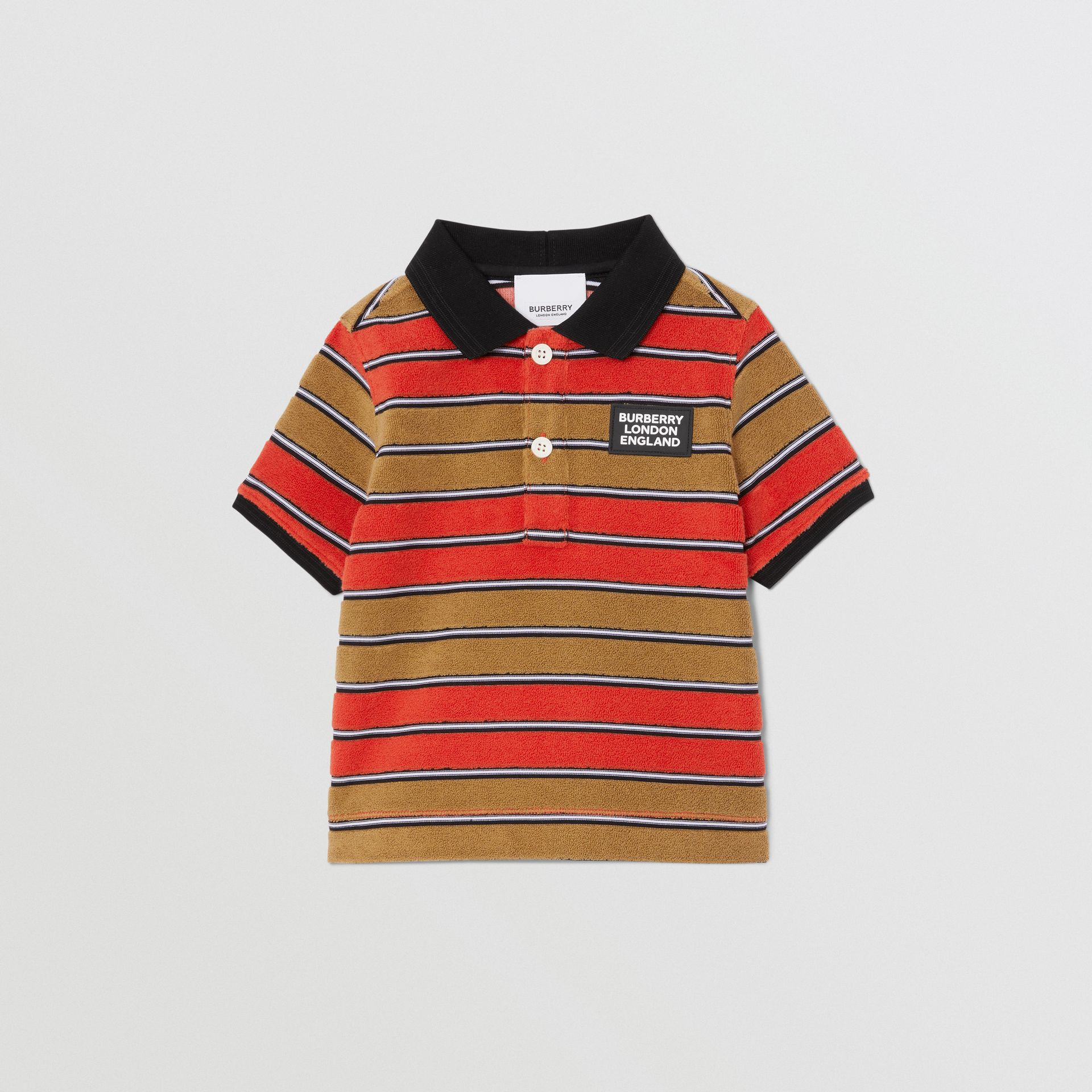Logo Appliqué Striped Towelling Polo Shirt in Vermilion Red - Children | Burberry - gallery image 0