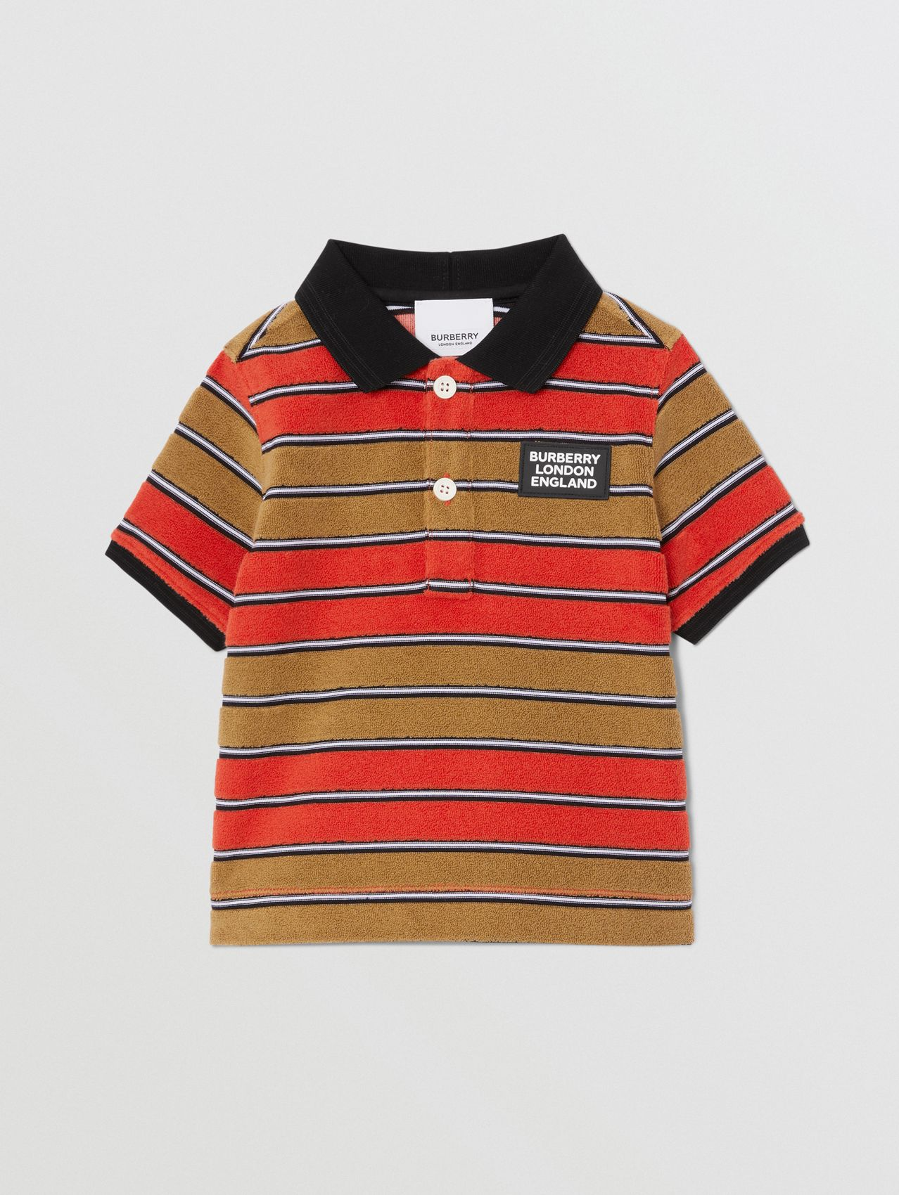 Logo Appliqué Striped Towelling Polo Shirt (Vermilion Red)