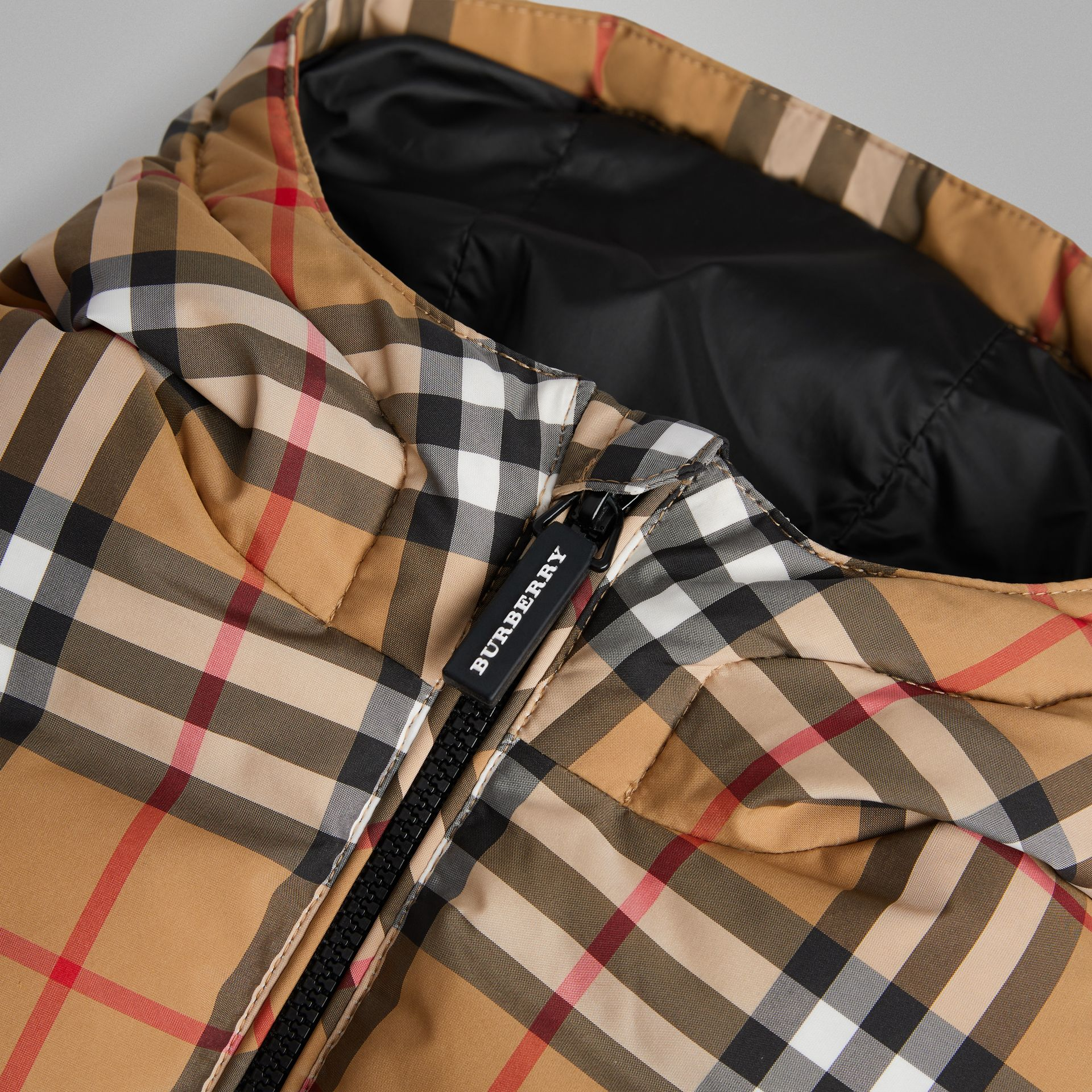 Vintage Check Down-filled Hooded Jacket in Antique Yellow - Children | Burberry - gallery image 1